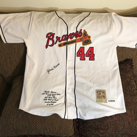 new style 233f0 027ee Hank Aaron Cooperstown Authentic Collection Jersey